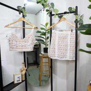 Kendall & Kylie Lace/Crochet Crop Tank & Skirt Set